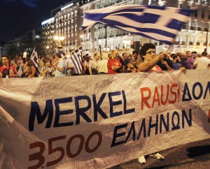Thousands of Greeks demonstrate ahead of Merkel visit